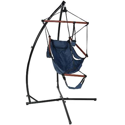 Superieur Sunnydaze Hanging Hammock Chair Pillow, Drink Holder X Stand Set, Blue, Max
