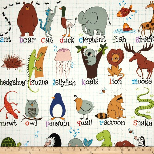 Fabric Alexander Henry (Alexander Henry Monkey's Bizness ABC with Me Animal Alphabet Natural Fabric by The Yard)