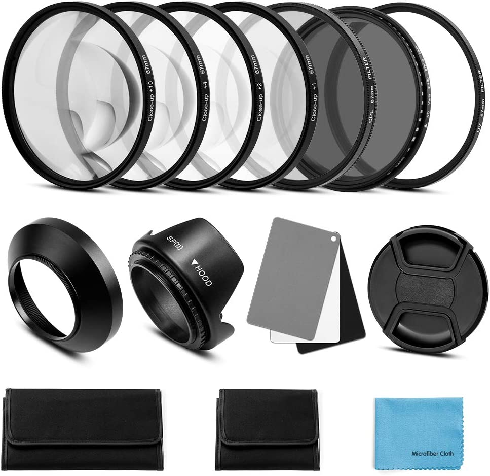 1,+2,+4,+10 Gegenlichtblende Graukarte kompatibel Canon Nikon Sony Olympus Fuji Kamera Fotover 72mm Objektiv Filter Kit:UV CPL-Polarisation Einstellbare ND Filter ND2-ND400 Nahlinsen Filter Set