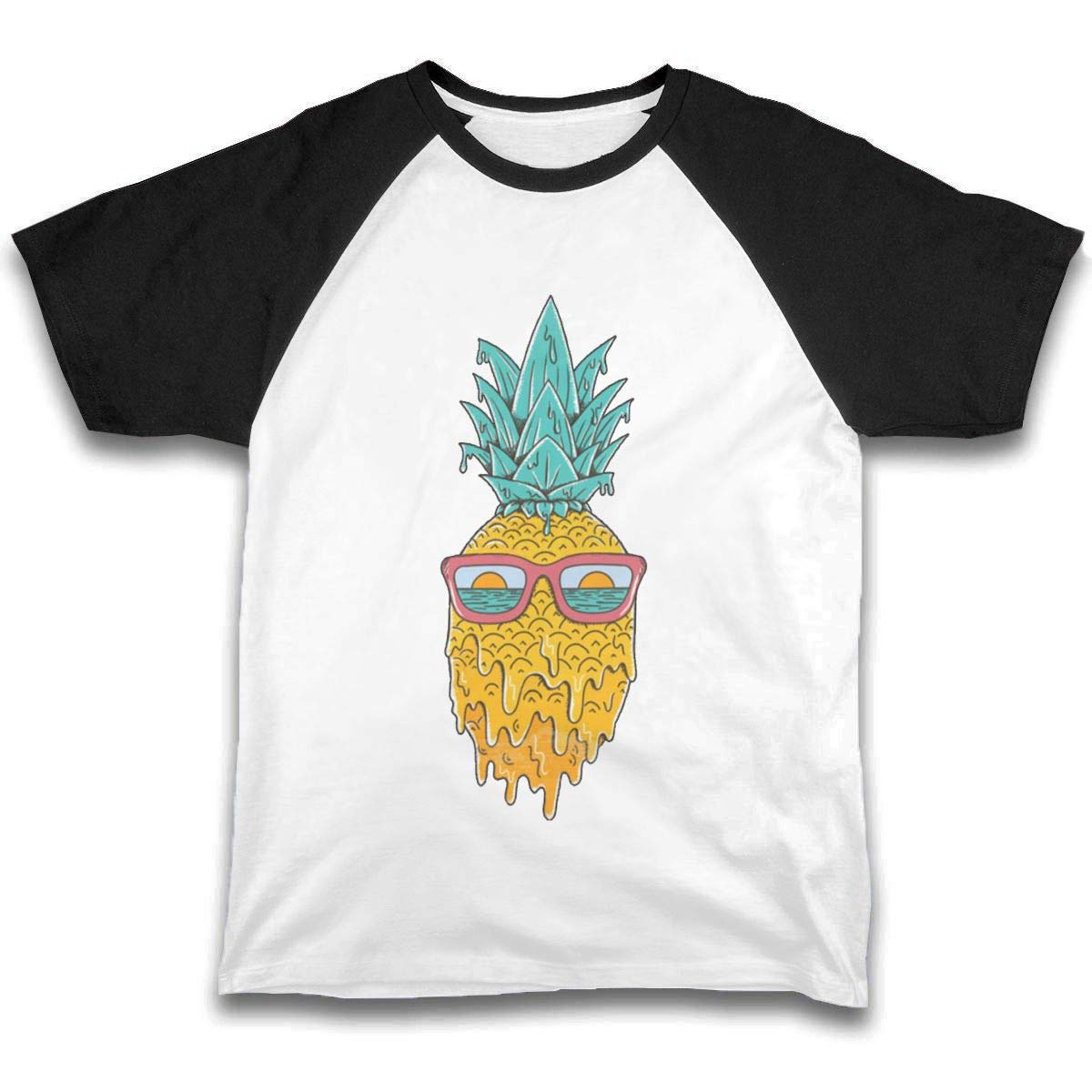 JJUSTING Kid's Pineapple with Glasses Boys and Girls Short Sleeve Baseball Tee T Shirt
