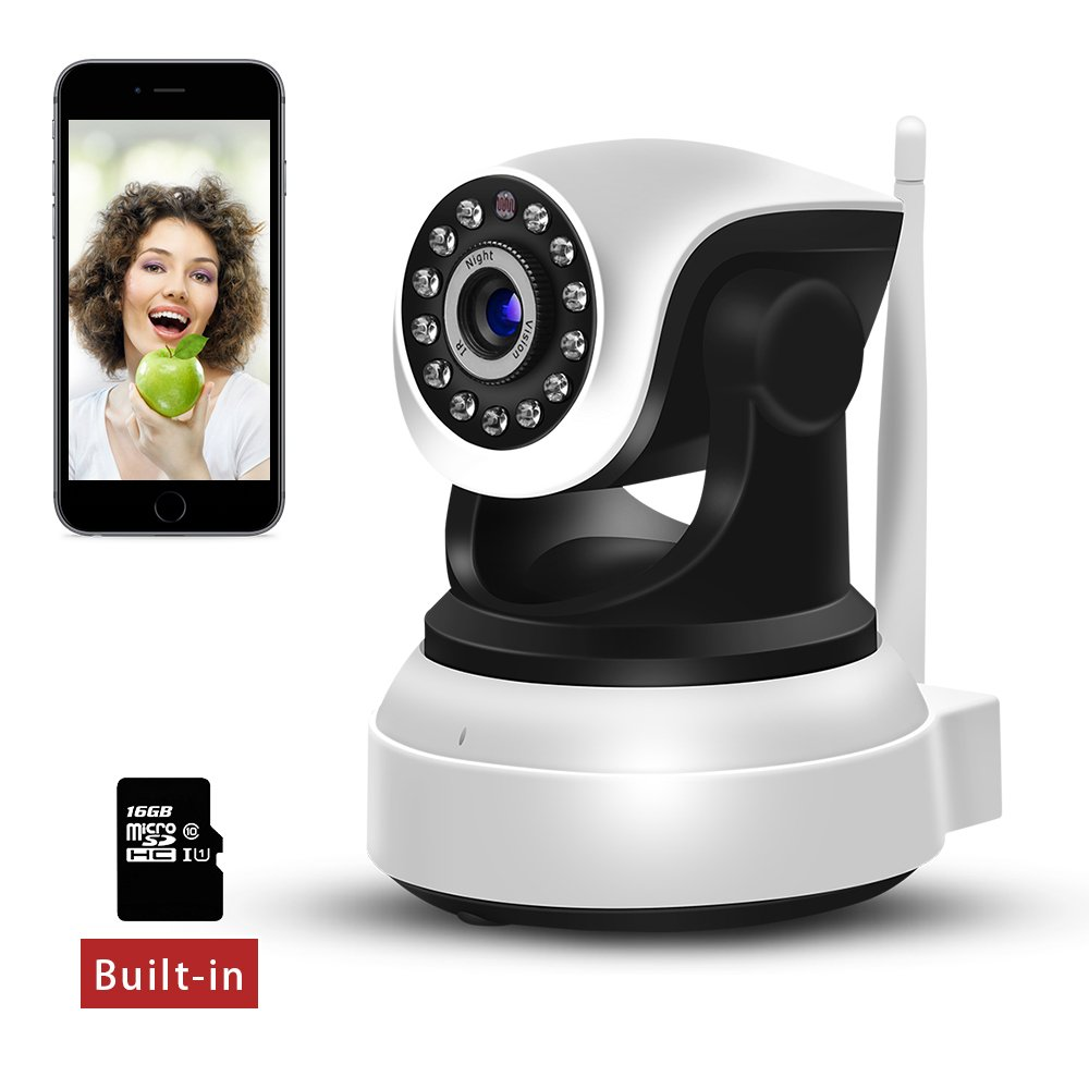 Sdeter WiFi IP Camera 720P HD Wireless Indoor Home Security Surveillance Camera with Night Vision Motion Detection Dome Home Monitor for Baby Elder Pet Pan/Tilt/Zoom Include 16G SD Card