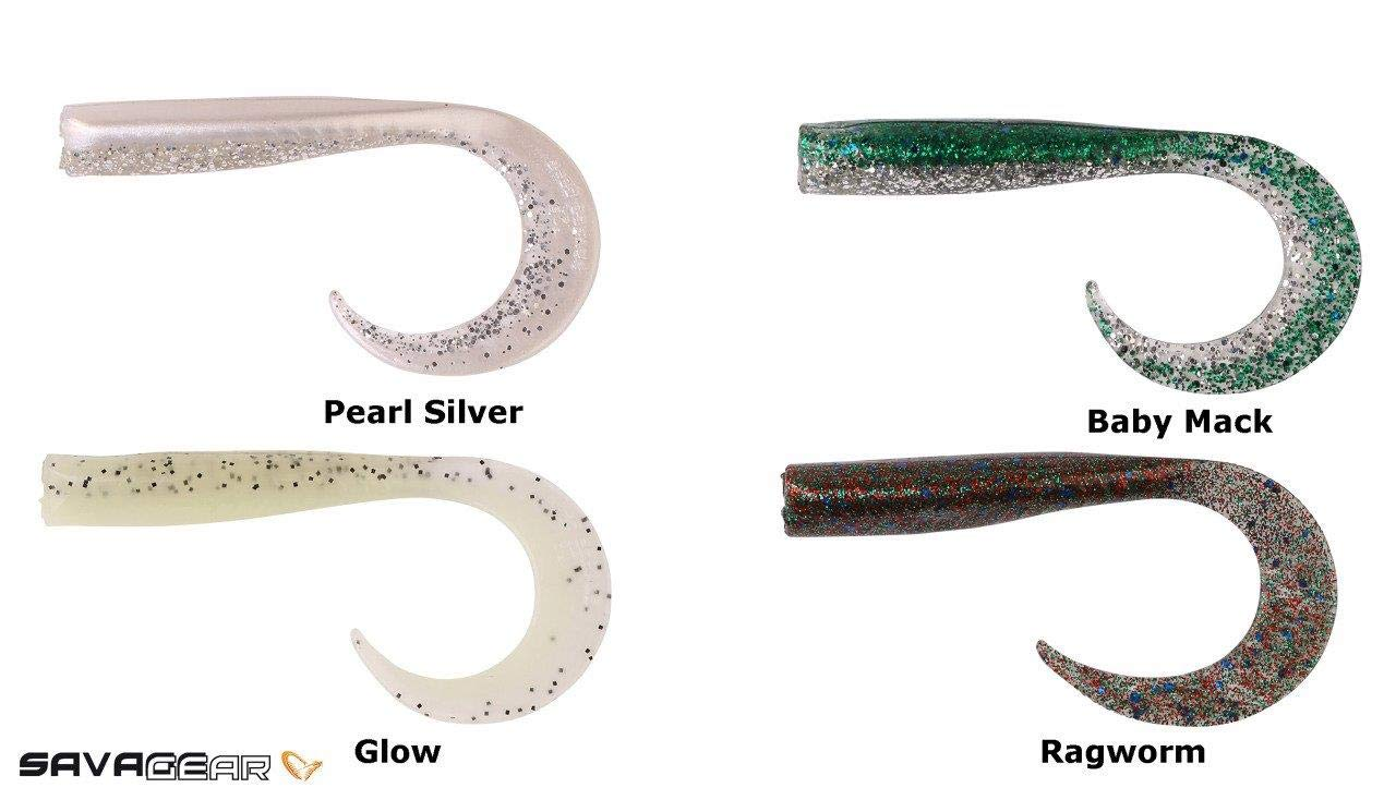 01 7CM Savage Gear Vinilo SANDEEL CURLTAILS Paquete DE 6 Pearl Silver by 6 7