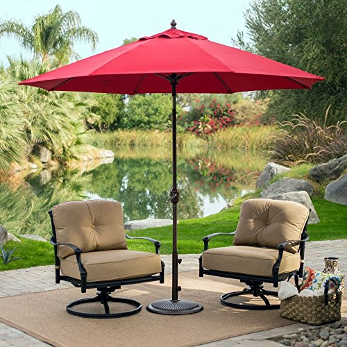 Patio - Umbrella Round Outdoor Crank Lift, Adjustable Auto Tilt. Best Sun Uv Protection For Garden, Patio, Lawn, Beach, Pool. 9' (Aruba) (Aruba Pool Round)