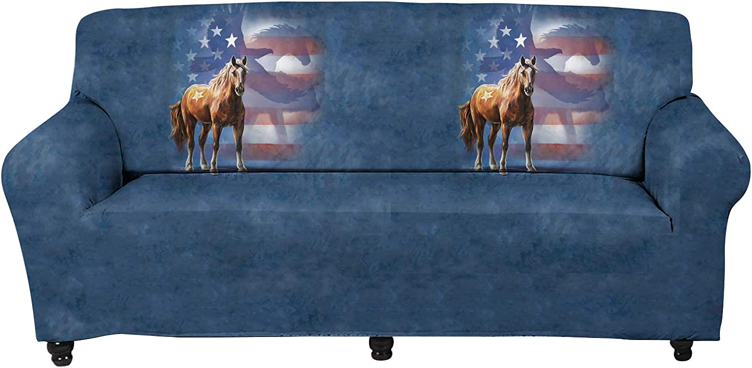 WELLFLYHOM Couch Slipcover One Piece American Flag Horse Pattern Stretch 3 Seater Sofa Cover Machine Washable Elastic Fbriac Furniture Protector Cover for Living Room, Children and Pets