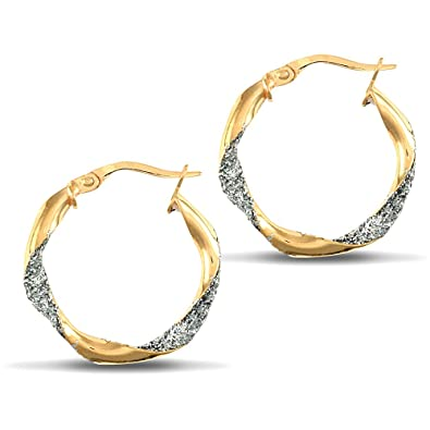 12cd22353 Jewelco London Ladies 9ct Yellow and White Gold Crushed Ice Glitter Twist  3mm Hoop Earrings 21mm: Amazon.co.uk: Jewellery