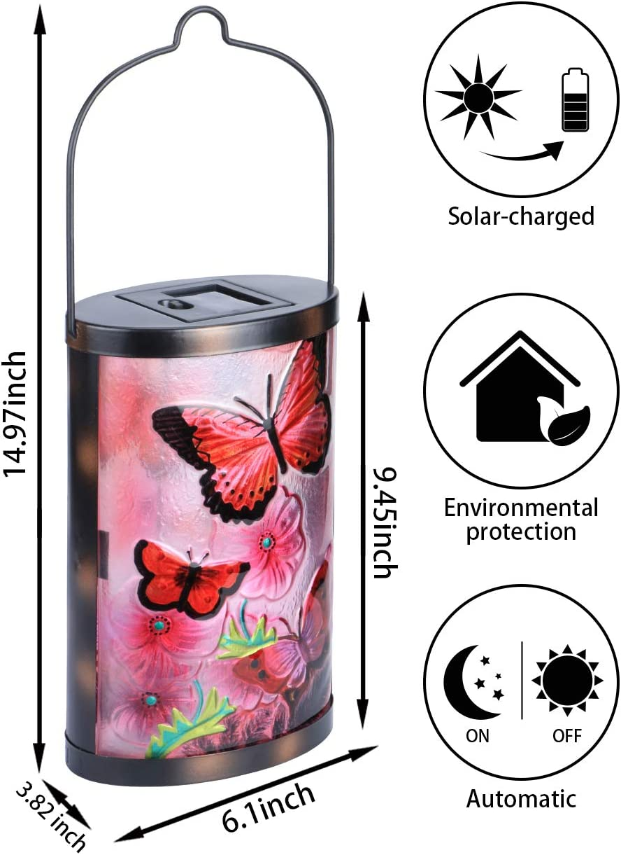 Hanging Solar Lantern Outdoor Decorative Waterproof LED Solar Butterfly Lights Tabletop Lamp for Outdoor Patio Garden Pink