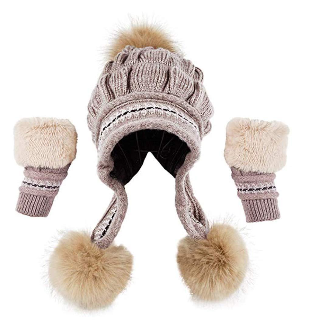 Stillshine Madame Bonnet tricoté Épais d hiver pour Garder au Chaud avec  Cache-Oreilles Chapeau en Tricot Gants Demi-Doigts Fille Peluche Bonnet de  Neige à ... 346f03b5c2d