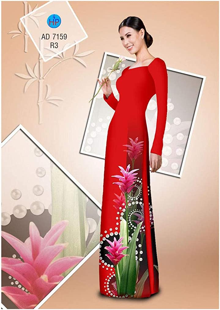 Silk 3D ADVN3D398 Ao Dai Traditional Vietnamese Long Dress Collections with Pants