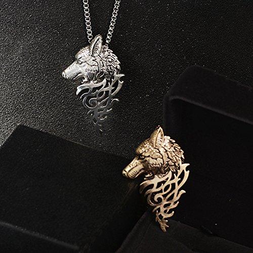 Unisex Necklace Vintage Wolf Head Shape Pendant Necklace Gift for Women Men Mixpiju (Black) by Mixpiju-Jewelry (Image #1)