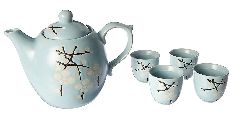 Happy Sales HSTS-LBC11 Japanese Design Light Blue Cherry Blossom Sakura Porcelain Tea Set
