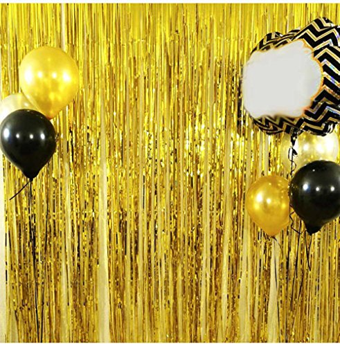 Rumfo 1x2M Metallic Silver Foil Fringe Curtains for Tassel Garlands Wedding Photography Backdrop Birthday Party Decoration (Gold)