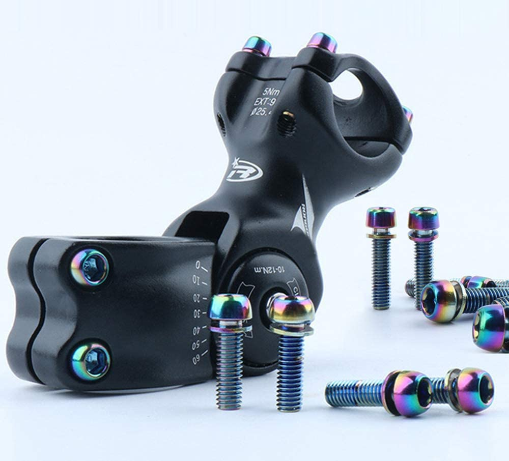 Titanium Stem Bolts M5 18mm Bicycle Stem Bolt Titanium Bolt Screws Bike Fixed Stem Bolts for Mountain Bicycle Stem Parts Bike Screws 6Pcs