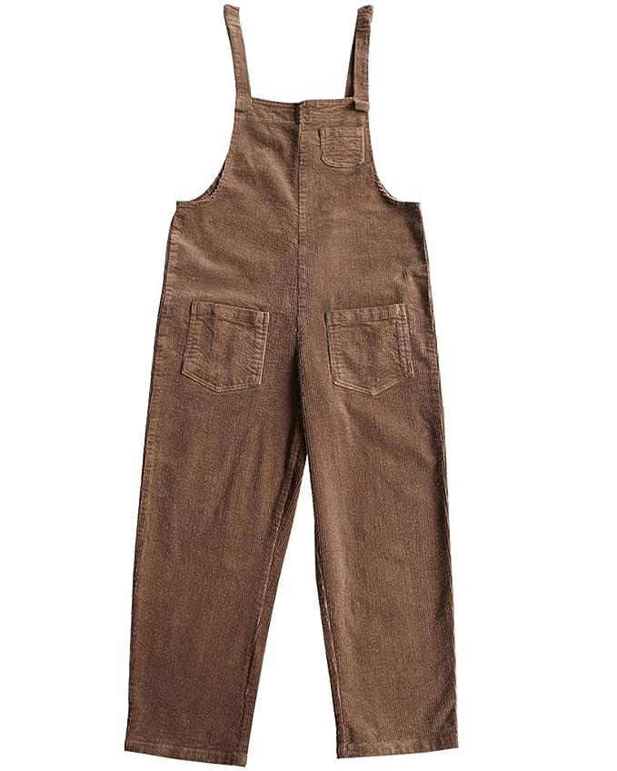 bbd50b5d647 Bigassets Mujer Algodón Monos de Pana Playsuit Pantalones Peto con Bolsillos  Khaki: Amazon.es: Ropa y accesorios