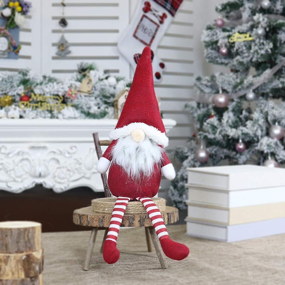 veyikdg Vinyle Face Naughty Elfe poup/ée Poup/ée De No/ël sans Visage P/ère No/ël Longue Jambe en Peluche Ornement D/écor Enfant Jouet Cadeau Merry Christmas Gris