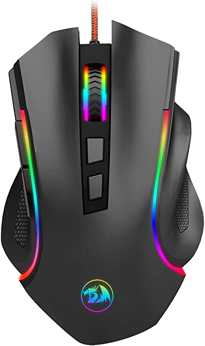 Redragon M602 RGB Wired Gaming Mouse RGB Spectrum Backlit Ergonomic Mouse Griffin Programmable with 7 backlight modes up to 7200 DPI for Windows PC Gamers [Black]