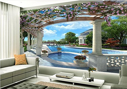 LWCX Wall Paper Rolls Customized 3D Mural Wallpaper Luxury Villa With Swimming Pool 3D Backdrop Wallpapers For Living Room 280X200CM
