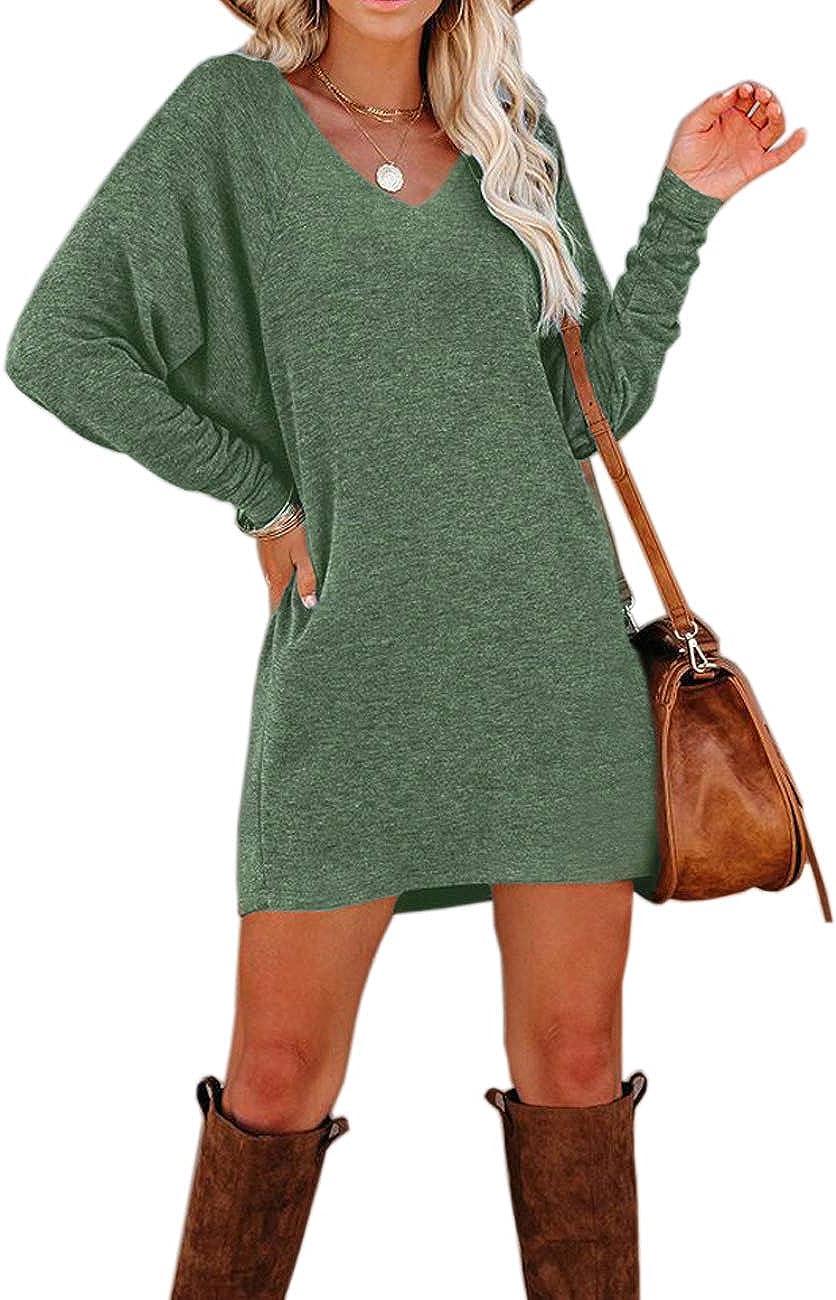 Murushe Women's Loose Plain Long Sleeve T-Shirt Dresses Fashion Elegant V-Neck Casual Short Dress Tops