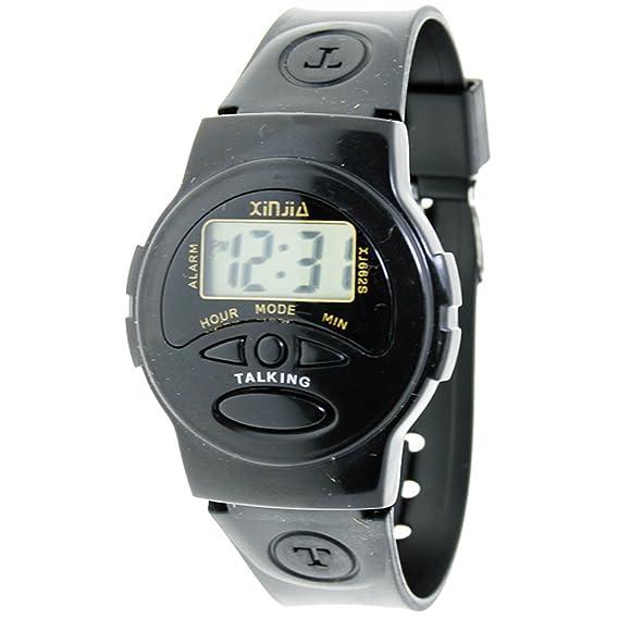 Reloj parlante de muñeca - Idioma Español - Reloj digital de caucho color negro - XJ-662S: Amazon.es: Relojes
