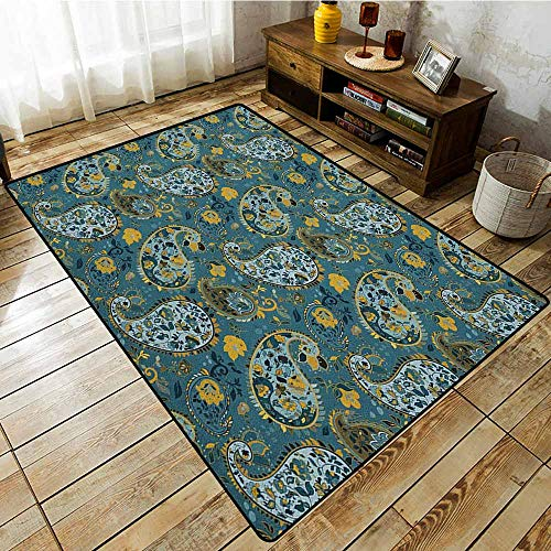- Living Room Area Rug,Paisley,Antique Curly Floral Motifs Old Fashioned Baroque Blossoms Oriental Cultural Design,for Outdoor and Indoor Multicolor
