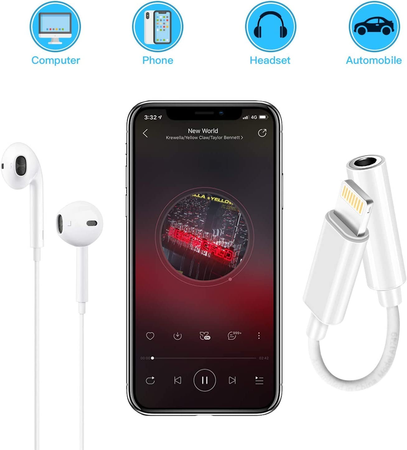 3.5mm Headphone Adapter Earbuds Earphones Adapter 3Pack,Dongle for iPhone X//Xs//Xs Max//XR 7//8//8Plus iOS 10//11//12 Plug and Play Female Connector Audio Cable Earbuds Aux Converter White