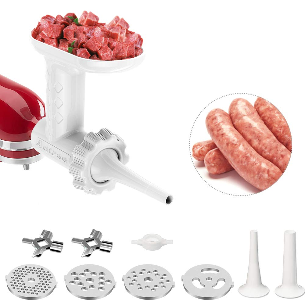 Antree Meat Grinder Attachment fits for KitchenAid Stand Mixer- Food Grinder -Meat Mincer with 4 Grind Plates, 2 Grind Blades, 2 Sausage Filler Tubes and 1 Cleaning Brush for KitchenAid Mixers by Antree