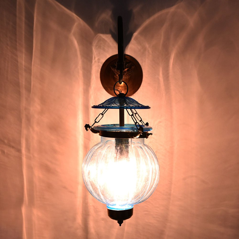 Handmade Vintage Melon Shaped Glass Light Blue Wall Lighting Lamp Sconces Hanging Bronze Bracket