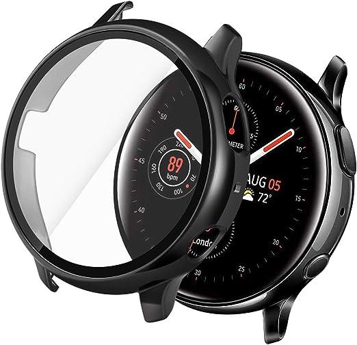 Yolovie Compatible avec Samsung Galaxy Watch Active 2 44 mm - Protection d'écran en verre trempé ultra mince HD - Coque de protection intégrale en ...