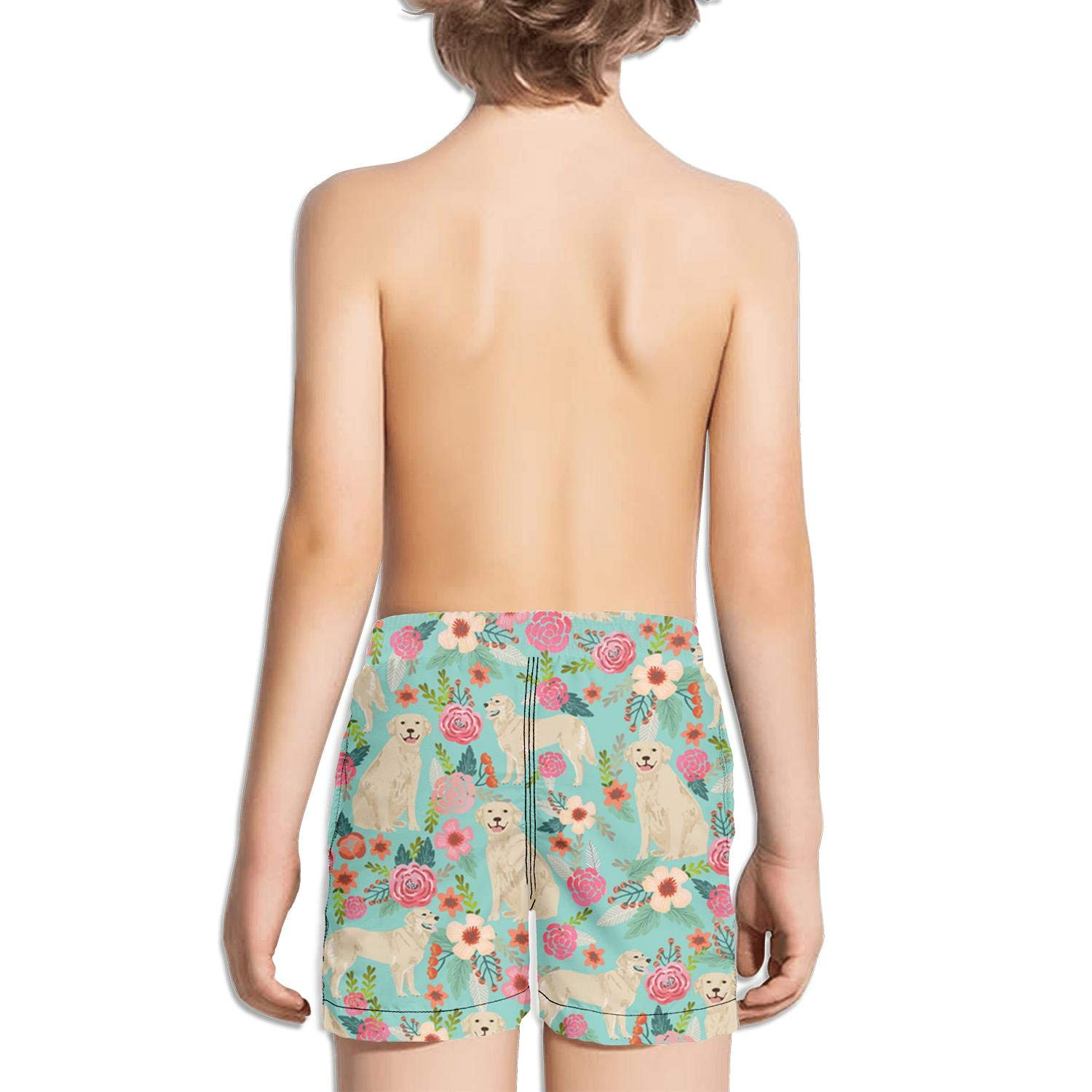 Ouxioaz Boys Swim Trunk German Shorthaired Pointer and Floral Beautiful Beach Board Shorts