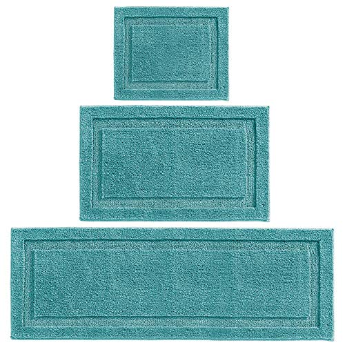 mDesign Soft Microfiber Polyester Spa Rugs for Bathroom Vanity, Tub/Shower - Water Absorbent, Machine Washable - Includes Plush Non-Slip Rectangular Accent Rug Mats in 3 Sizes - Set of 3 - Teal Blue (Polyester Rug)