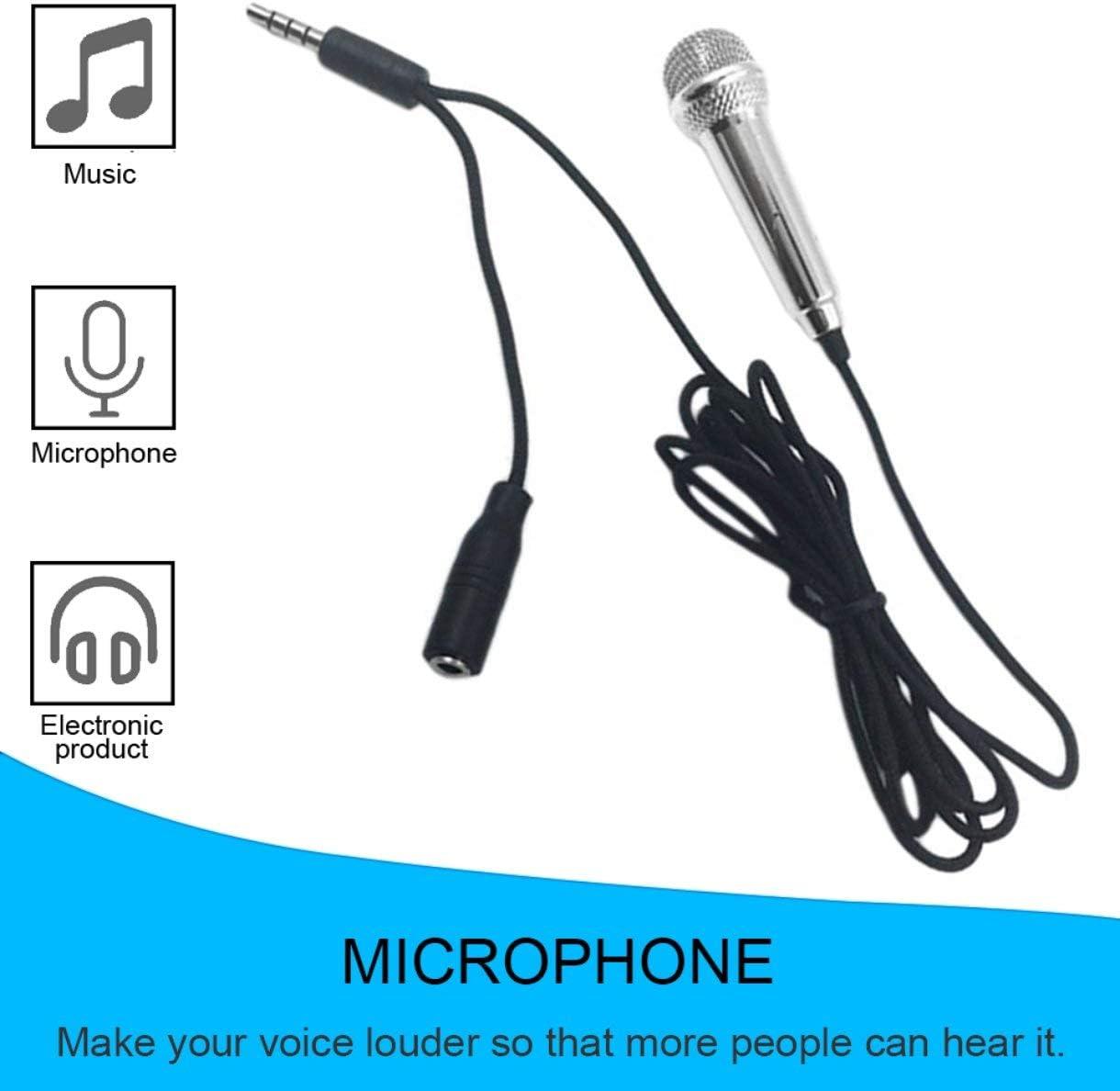 Tragbare aluminiumlegierung mini 3,5mm kabelgebundenes mikrofon f/ür handy tablet pc laptop rede singen karaoke f/ür iphone farbe: silber