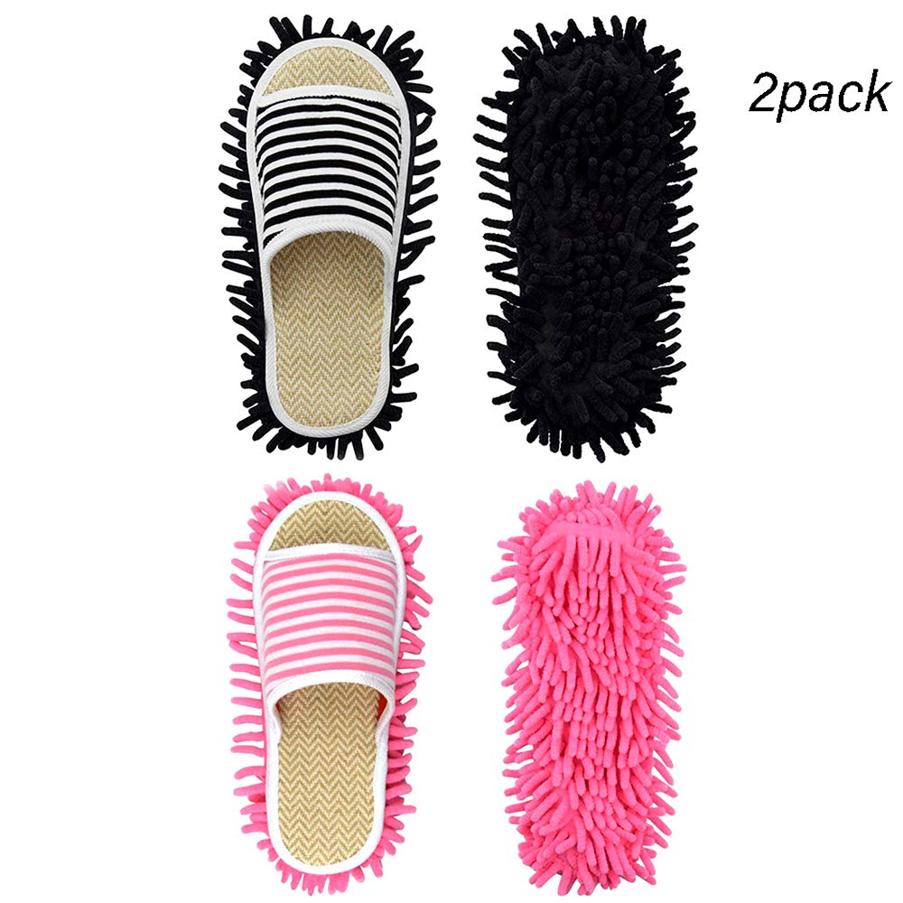 Tenyears 2 Pairs Washable Mop Slippers Microfiber Floor Cleaning Mop Slippers Non Slip House Dusting Slippers Bedroom Shoes, Pink + Black