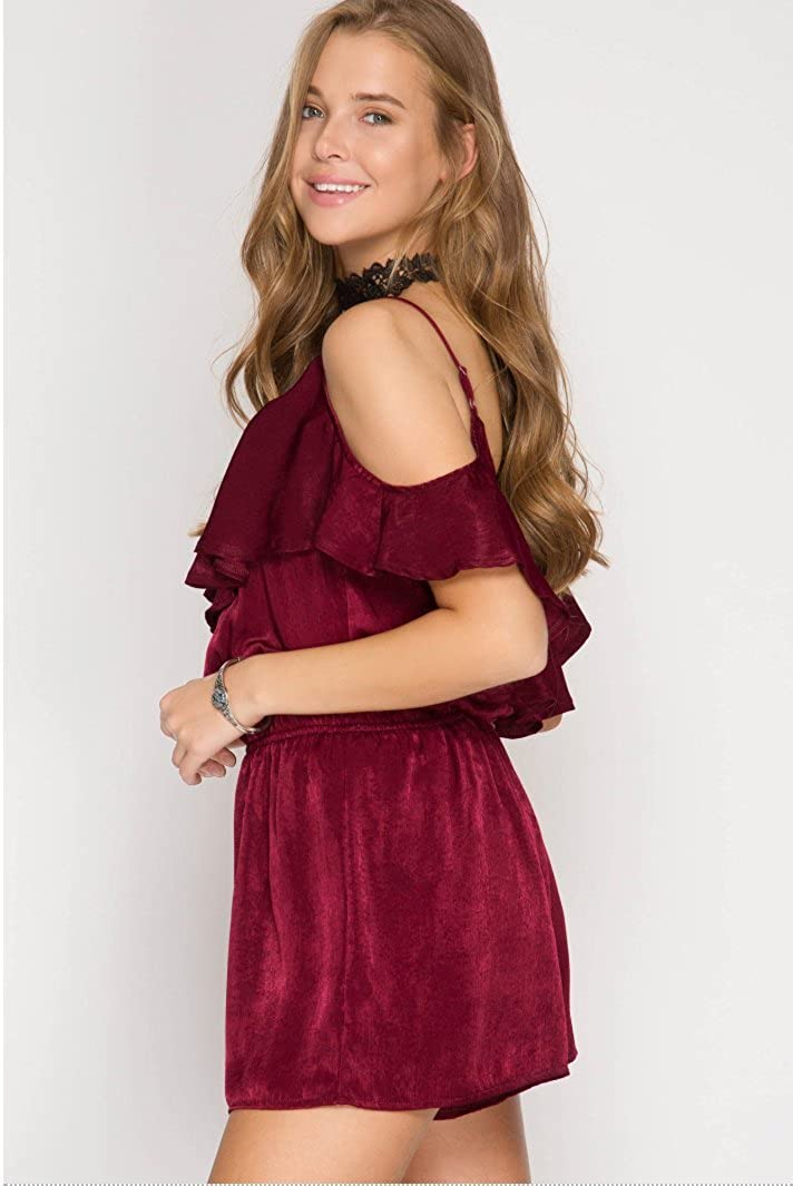 Stylish and Confortable Cherry Satin Romper Gloz Boutique Womens Sexy