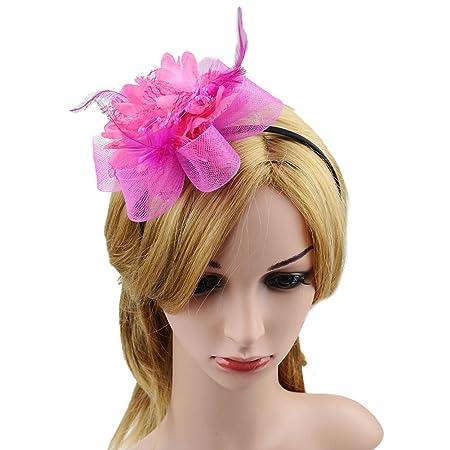 ae726edf49dd2 JasmineLi Fascinator Stylish Women Hair Clip Feather Beads Mesh Hair Hoop  Clasps Brooch Ornaments