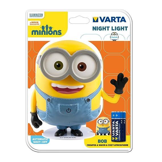 Varta LED Minions Nachtlicht Bob (inkl. 3x Longlife Power AA Batterie Taschenlampe Orientierungslicht Nachtlampe Stimmungslic