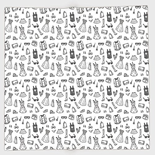 Doodle Garment - Cotton Microfiber Hand Towel,Heels and Dresses,Female Fashion Themed Pattern Sketch Cartoon Style Doodle Garments Decorative,Black and White,for Kids, Teens, and Adults,One Side Printing