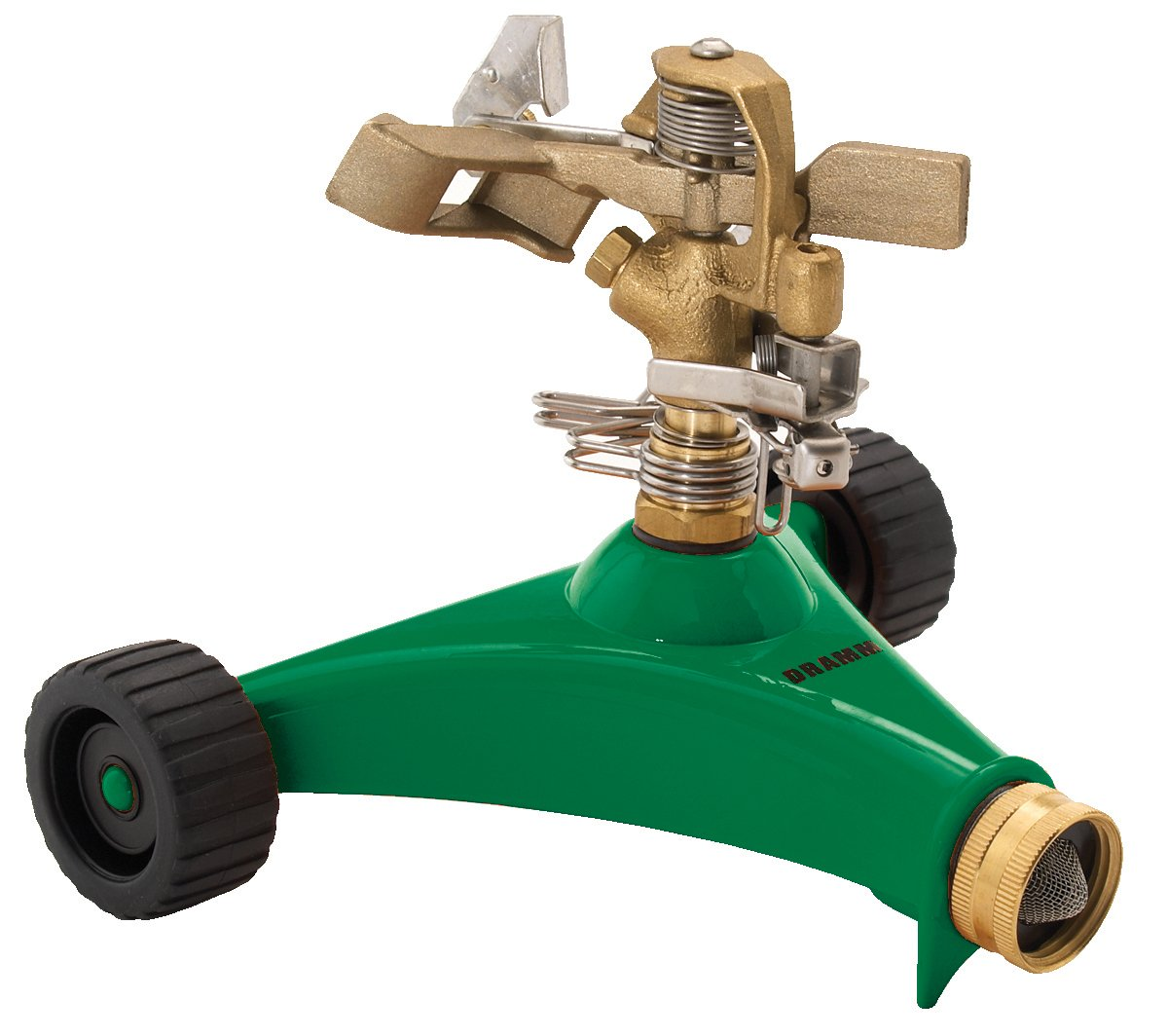 Dramm 15034 Colorstorm Premium Impulse Sprinkler with Heavy-Duty Metal Wheeled Base, Green