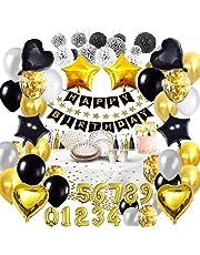 Bea's Party Verjaardag decoratie wit zwart en goud volwassen man vrouw banner gelukkige verjaardag banner placemat servetten papieren tafelkleed wegwerp plaat ballonnen verjaardag 18 30 40 50 80 jaar