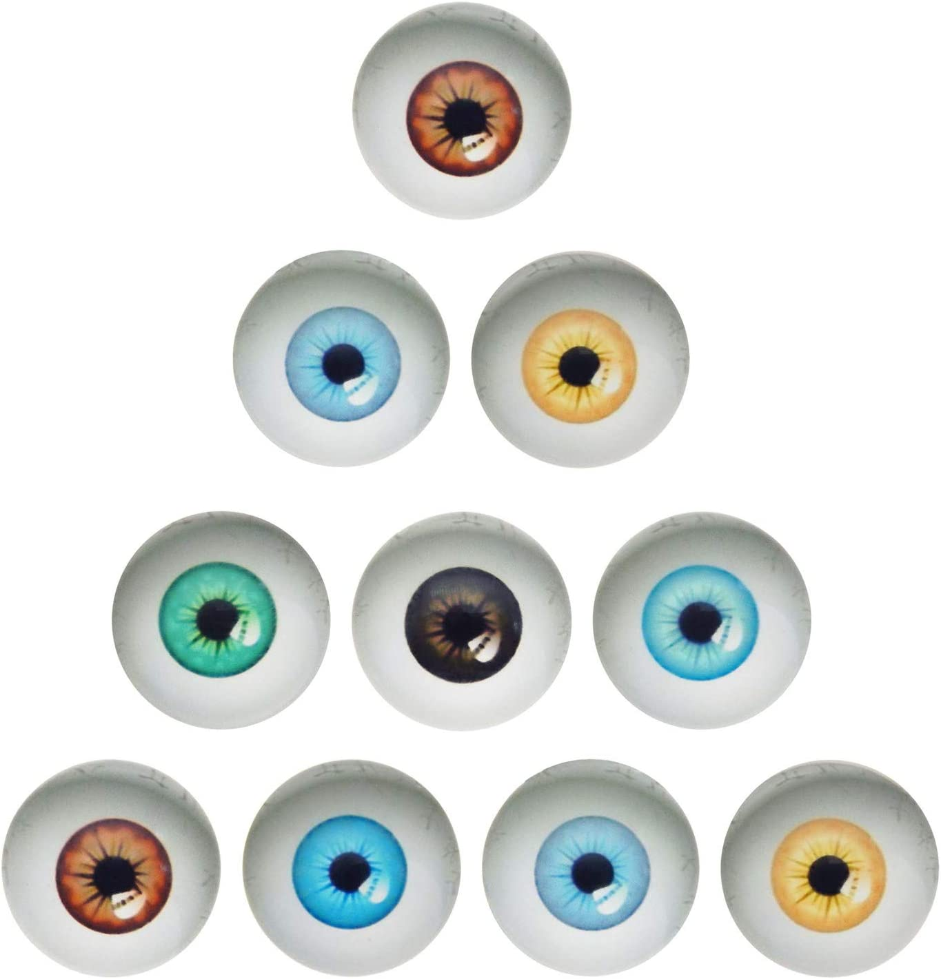 10 Pairs 30mm Dome Glass Human Eyes for Art Dolls Sculptures Props Masks Fursuits Jewelry Making Taxidermy Flatback