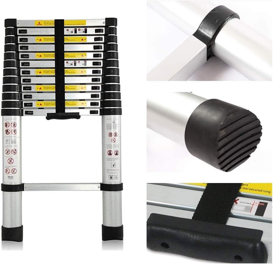 Tragbar Dachbodenleiter mit 1 Paar Handschuhe Ausziehbar 150 kg Kapazit/ät panthem Teleskopleiter aus Aluminium 2,6 m//3,2 m// 3,8 //5m