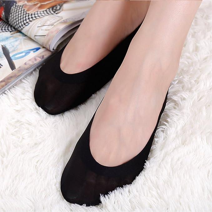 neuartiger Stil bis zu 60% sparen Fabrik Generic Damen Füßlinge Unsichtbare Sneakers aus Baumwolle Nylon Socken mit  Rutschfest Silikon und 3D Einlage, Schwarz/Hautfarbe (4 Paar)