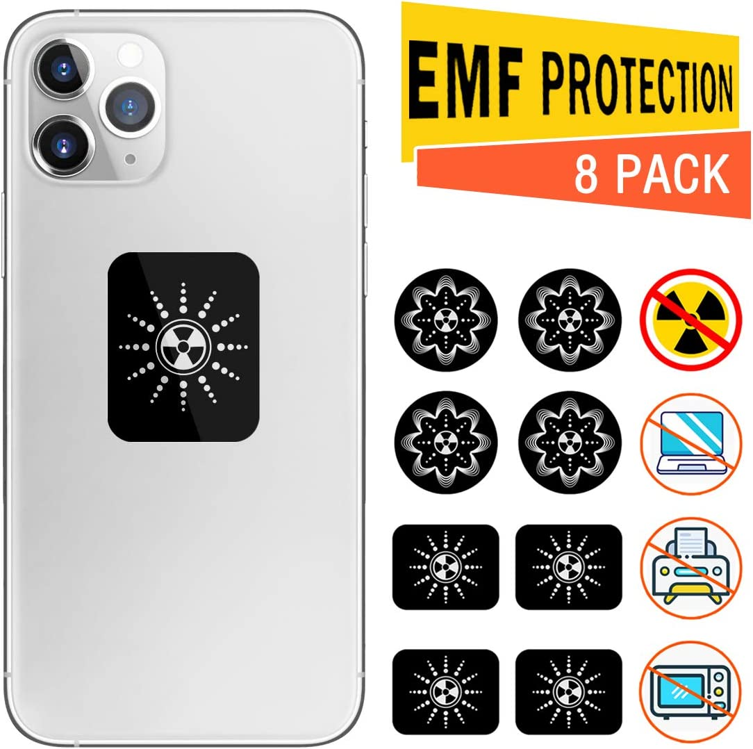 Anti Radiation Protection Sticker for Cell Phone - 99% EMF Protection - Negative Ion Protection Neutralizer Sticker Shield Blocker, for Cellphone, Laptops, Tablets, iPhone, iPad, All Devices (8 Pack)