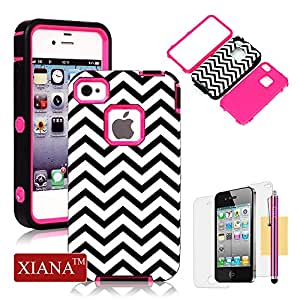 iPhone 4S Case, iPhone 4 Case, XIANA Newly Fashion Durable Glossy Skin In-Mold Decoration(IMD) TPU Gel Design Hybrid High Impact Slim Back Case Suitable For Apple iPhone 4 4S(Black White Waves) with Stylus, Screen Protector and Cleaning Cloth-(Rose Red)