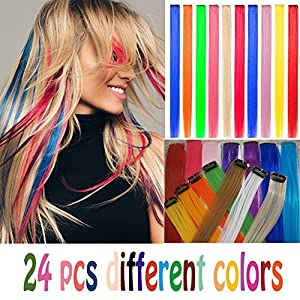 24 pcs Straight Colored Clip in Hair Extensions Fashion Hairpieces for Party or Performance Highlight Multiple Colors(Full Color Set 24 Pcs)