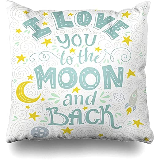 Funda De Almohada Con Cremallera - Fecha Love You Moon Back ...