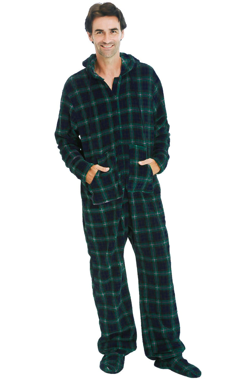 Alexander Del Rossa Mens Fleece Onesie, Hooded Footed Jumpsuit Pajamas, 2XL Blue and Green Plaid (A0320P232X)