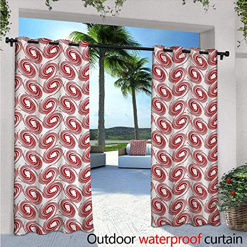 Abstract Outdoor Privacy Curtain for Pergola Spirals Pattern with Red Toned Illustration Ornamental Modern Abstract Art Thermal Insulated Water Repellent Drape for Balcony W120 x L108 Ruby Scarlet (Red Spiral Peanut)