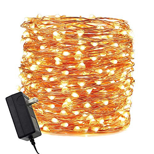 ER CHEN LED String Lights Plug in, Warm White Copper Wire Starry Fairy Lights Decorative Lights with Adapter for Christmas Party Wedding(165ft/50m 500LED)