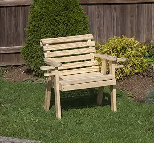 Amish Heavy Duty 800 Lb Roll Back Pressure Treated Porch Patio Garden Lawn Outdoor Glider with Cup Holders-5 Feet-Rust RED-Made in USA