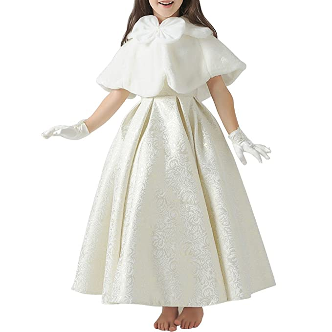 Odziezet Capa de Vestido Niña Princesa Blanco Elegantes Poncho Infantil Boda Fiesta Manto Fiesta Disfraz 8-14años