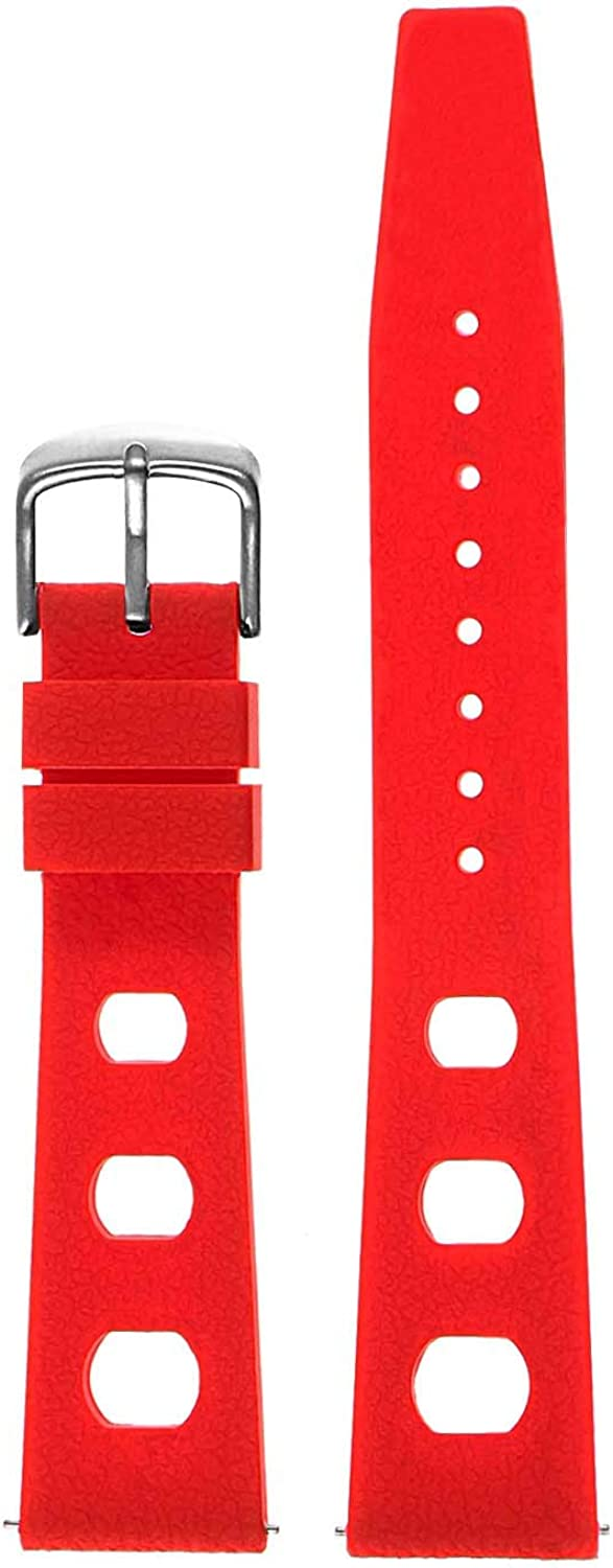 StrapsCo Silicone Rubber Vintage Rally Quick Release Watch Band Strap - Choose Your Color - 18mm 19mm 20mm 21mm 22mm